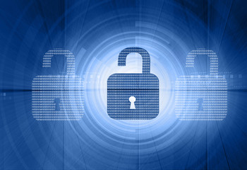 Internet security. unlock security locks on digital tech background.