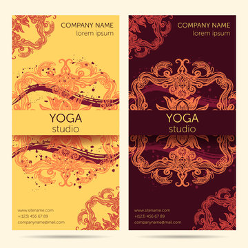 Design template for yoga studio with mandala ornament background. Brochure, card, invitation, flyer, banner. Design concept for yoga center, beauty salon, spa, cosmetics. Colorful vector illustration