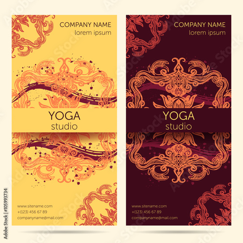 Design Template For Yoga Studio With Mandala Ornament Background Brochure Card Invitation