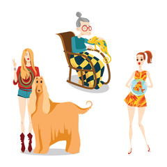 Set of vector illustrations of people and their pets