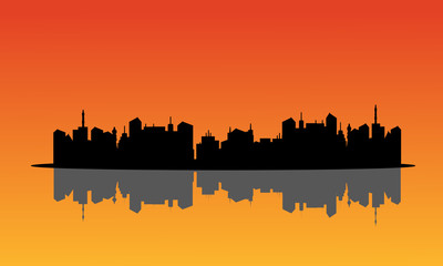 silhouettes of city and reflection