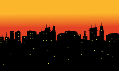 Silhouette of city at the afternoon