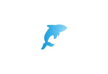 Blue whale simple flat logo
