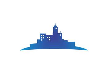 Blue city buildings silhouette logo