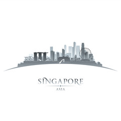Singapore city skyline silhouette white background