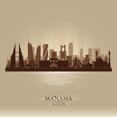Manama Bahrain city skyline vector silhouette