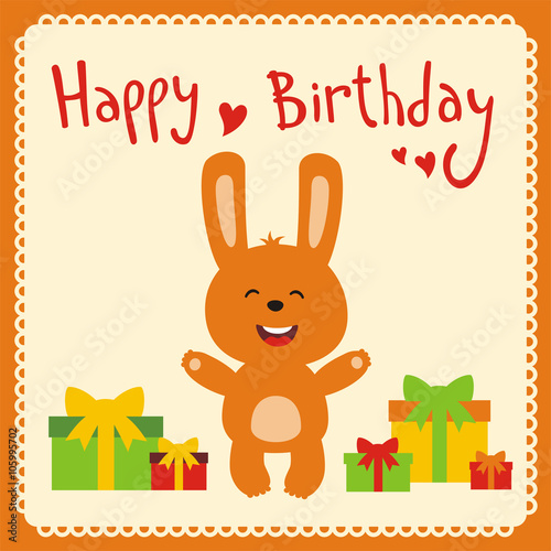 Happy Birthday Funny Little Rabbit With Gifts Handwritten Text Card Cartoon