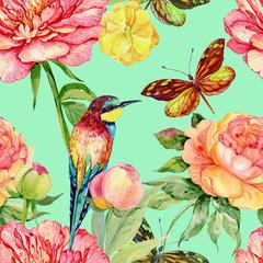 postcard peonies .watercolor flowers,bird ,butterfly