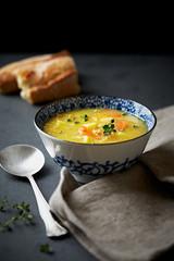 Polish barley soup with fresh marjoram