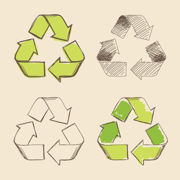 Recycling symbol vector hand drawing