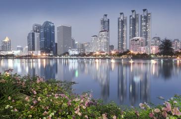 Twilight of Benchakitti Park Bangkok Thailand