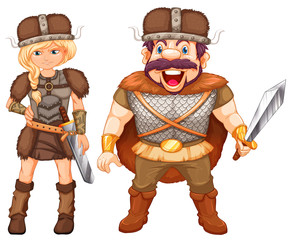 Male and female vikings in armour suit
