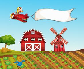 Monkey flying plane over farmyard