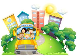 Children and teacher on school bus