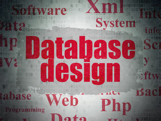 Database concept: Database Design on Digital Paper background