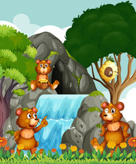 In de dag Beren Bears relaxing by the waterfall