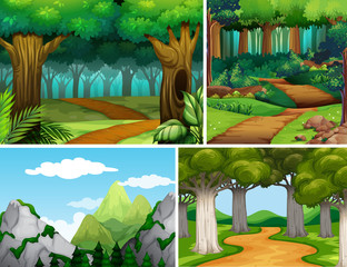 Four nature scenes with forest and mountain