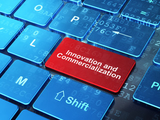 Science concept: Innovation And Commercialization on computer keyboard background