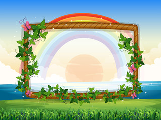 Frame design with rainbow and sunset