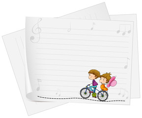 Paper design with love couple on bike