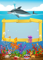 Frame design with dolphin underwater