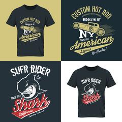 Vintage American hot rod old grunge effect tee print vector design illustration. Premium quality superior shark retro logo concept. NY car shabby t-shirt emblem.