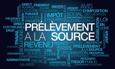 Prélèvement à la source impôt direct sur le revenu loifinance publique nuage de mots texte tag cloud