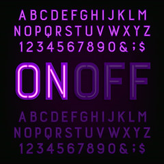 Purple Neon Light Alphabet Font. Two different styles. Lights on or off. Type letters, numbers and symbols. Vector typography for animation, labels, titles, posters etc.
