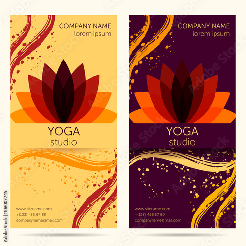Design Template For Yoga Studio With Abstract Lotus Flower Brochure Card Invitation