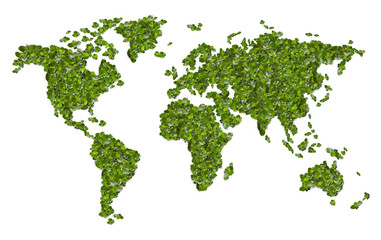 World map from the green grass. Isolated