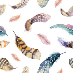 Feathers repeating pattern. Watercolor background with seamless