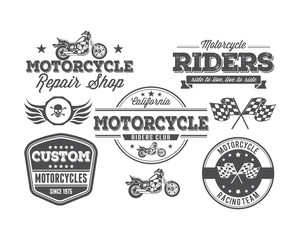 set motor cycle badges logo vector