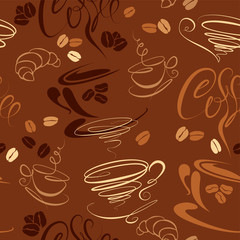Seamless pattern with coffee cups, beans, croissant, calligraphi