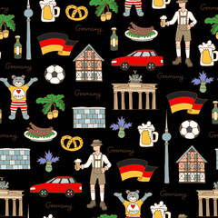 Vector seamless pattern with hand drawn colored symbols of Germany on black color