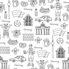 Vector seamless pattern with hand drawn isolated symbols of Germany on white color