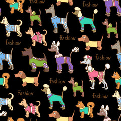 Vector seamless pattern with hand drawn colored dogs on black color