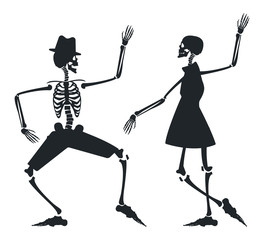 Vector image with couple silhouette of skeleton