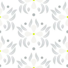 Floral leaves seamless vector pattern.  White gray flower repeating wallpaper pattern.