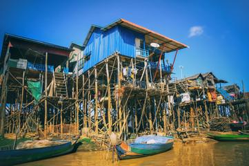 Homes on stilts on the floating village of Kampong Phluk, Tonle Sap lake,Siem Reap province, Cambodia