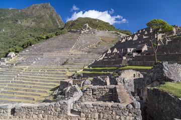Terraces of Machu Picchu sacred lost city of Incas in  Peru