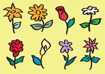 Hand Drawn Flower Stalk Vector Cartoon Illustration