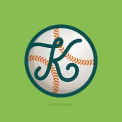K letter logo with baseball ball.