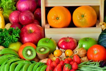 Elegant group fruits and vegetables