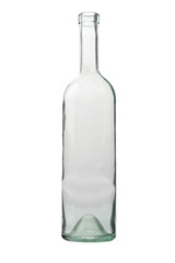 Empty glistening bottle on a white background.