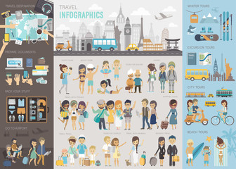 Wall Mural - Travel Infographic set with charts and other elements.