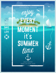 Wall Mural - Summer time poster with sea background.