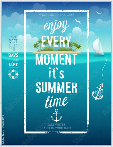 Wall mural Summer time poster with sea background.