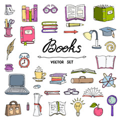 Vector set with hand drawn, isolated and colored doodles of book
