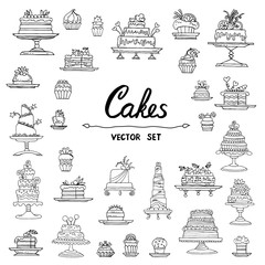 Vector set with hand drawn isolated doodles of cakes on white color