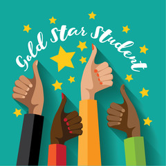 Gold star student thumbs up design. EPS 10 vector